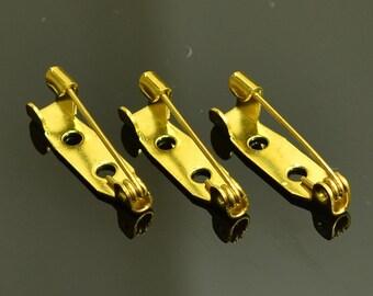 25 Pcs 20 mm Raw Brass Brooch Backs , Pin , Findings
