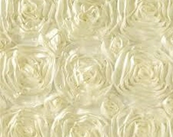 Ivory Satin ROSETTE PHOTO BACKDROP, Select Your Size, Wedding Photo Booth, Photography Background, Ceremony Background