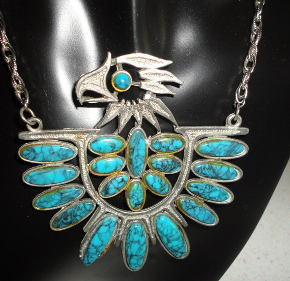Vintage Faux Turquoise Eagle Necklace South Western Tribal