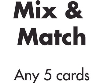 Mix & Match - Any 5 of our letterpress greetings cards!