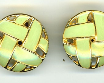 Green basket weave earrings