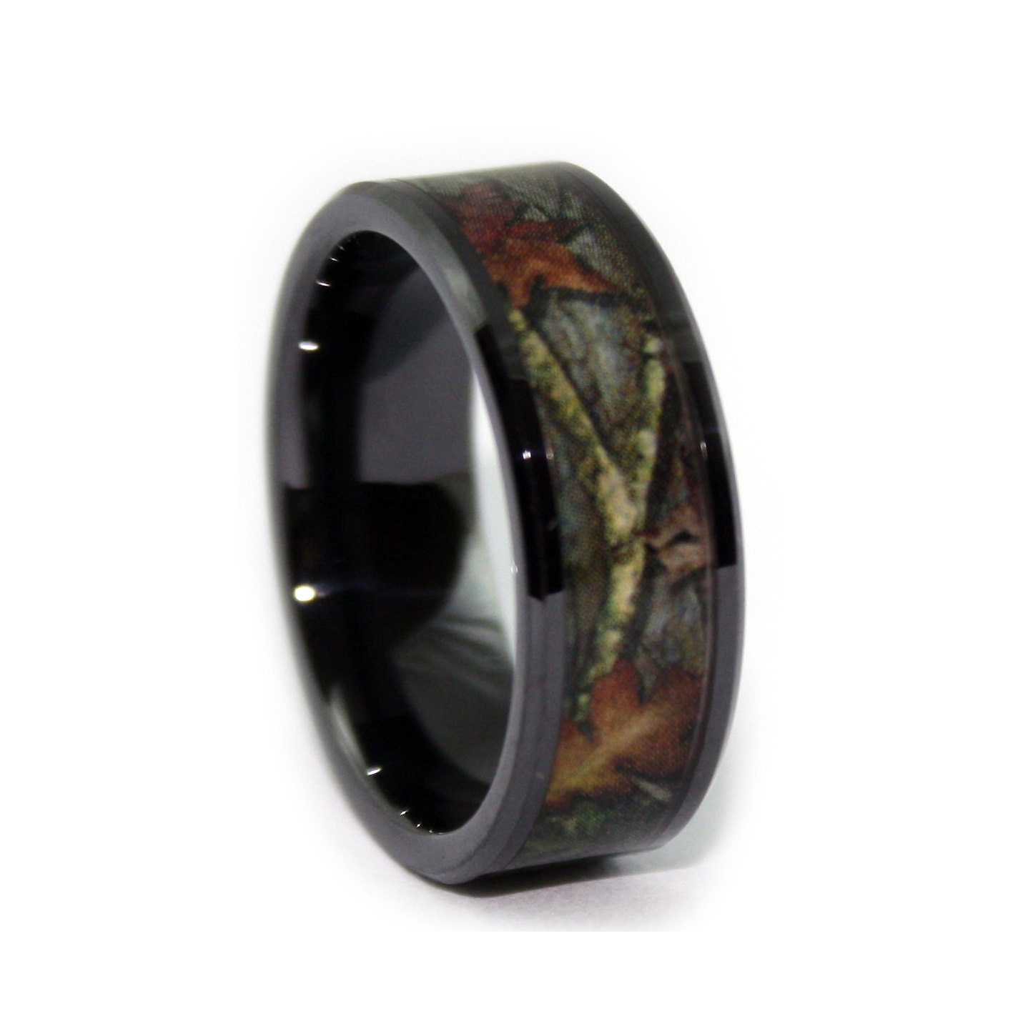 Black camo wedding rings by one camo 8mm black rings for Camoflauge wedding rings