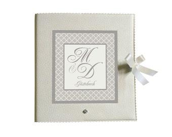 Guestbook 25x25cm - cream grey - initials