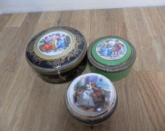 Collection of Victorian Porcelain Trinket Boxes - Romantic Scenes