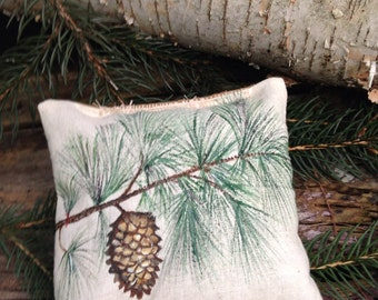 Country French Balsam Fir Pillow Handpainted Pine Cone Design Great Wedding Favor
