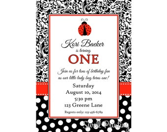 Ladybug Invitation Dots and Damask, Ladybug Birthday Party Invitation Digital Invitation
