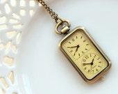 Double Clock, Pocketwatch, Antique Brass Pocket Watch, Vintage Retro, Necklace, Steampunk Charm, Travel (PW04)