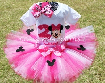 Pink Minnie Mouse Tutu Set with Number and Minnie Cutouts- Birthday Set