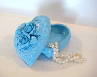 Heart shaped box, jewelry box, flower girl gift, trinket box, turquoise blue box, ceramic box, keepsake box, shabby chic decor