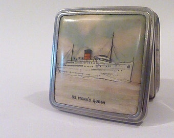 Stratton Stratnoid celluloid ship compact S S Mona's Queen rare Stratton powder compacts boat compacts