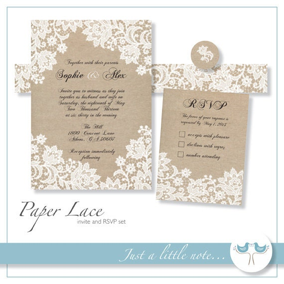 Paper lace 5x7 invitation and rsvp set digital printable for Digital wedding invitations with rsvp