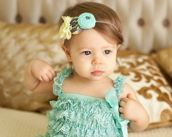 Mint Yellow Gray  Rosettes  Baby Headband ,Yellow Tulle Flower Headband for girls of all ages