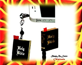 Miniature Bible With Red Sache Dust Plug Charm
