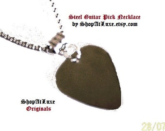 Steel Guitar Pick Necklace with Stainless Steel Ball Chain