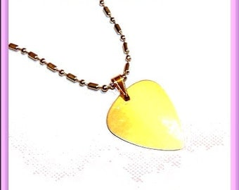 Gold Plated Steel Guitar Pick Necklace With Matching Gold Ball Chain