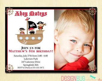 Boy's Pirate Birthday Invitation - Pirate Ship Ahoy Mateys Invite- 1st, 2nd, 3rd, etc. - 1, 2, 3, 4 Year Old - DIY Printable Photo Invite