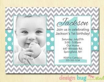 Girls Chevron Birthday Invitation Year - Birthday invitation text for 1 year old