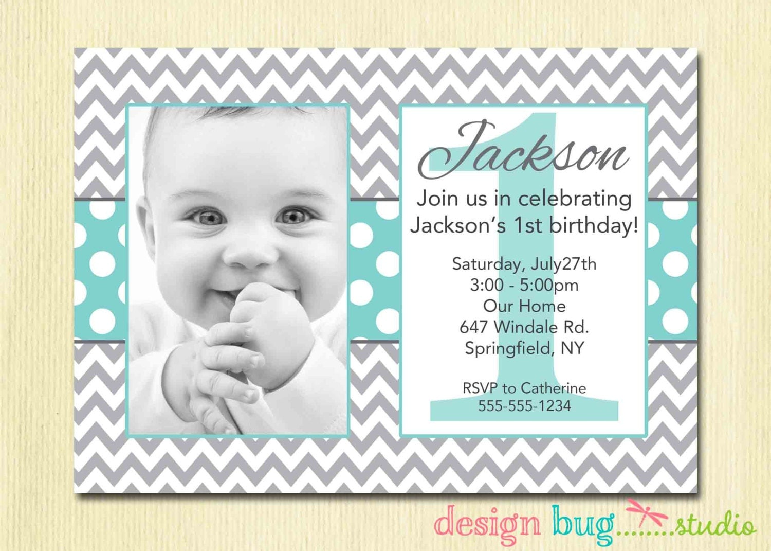 boy's chevrons and polka dots birthday invitation gray, invitation samples