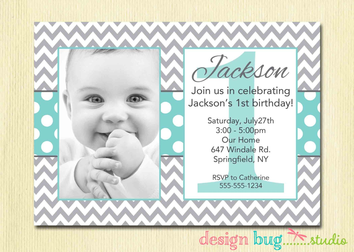 Boys Chevrons And Polka Dots Birthday Invitation Gray - Birthday invitation for one year baby