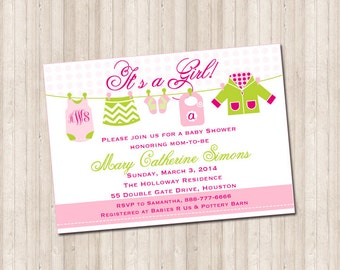 Custom Monogram Baby Girl Clothesline Shower Invitation