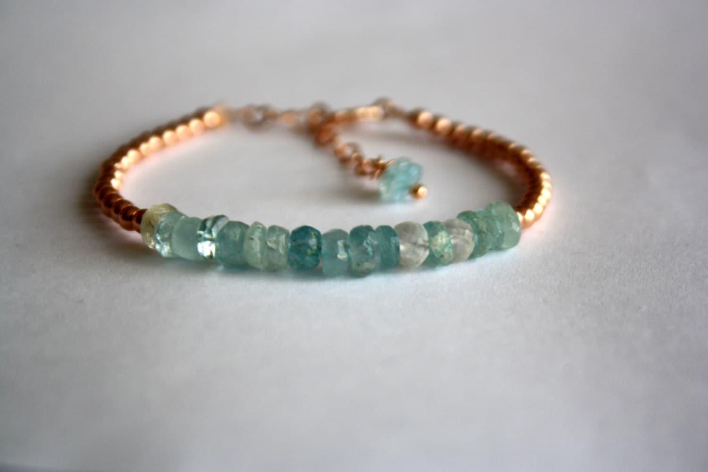 Aquamarine And Rose Gold Bracelet 14k Rose Gold Filled Beaded