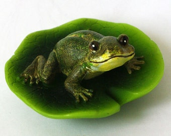 Silicone soap mold Frog on a lily