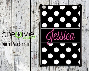 iPad Mini back cover case, Black/White Polka Dot with Pink MONOGRAM or personalized iPad Mini case