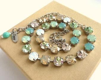 Swarovski Crystal Necklace,  Mint Green, White Opals, Neutrals, 8mm Swarovski Elements, Bridesmaids Gift, Siggy Jewelry, FREE SHIPPING