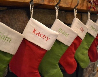 linen christmas stocking red and green stockings monogrammed linen stocking