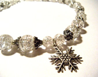 Glass Necklace With Snowflake Charm