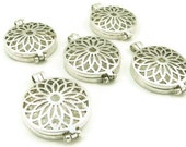 5 Pc. Locket - Silver Plated - Prayer Box - Pendant - Charm - Lotus Flower Filigree - Large Locket - Jewelry Supplies