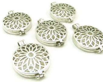 Locket - Silver Plated - Prayer Box - Pendant - Charm - Lotus Flower Filigree - Large Locket - Jewelry Supplies