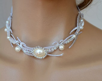 Wedding Jewelry,  Choker Necklaces, Bridal Silver Choker, Handmade custom design, Bridal Jewelry Accessory