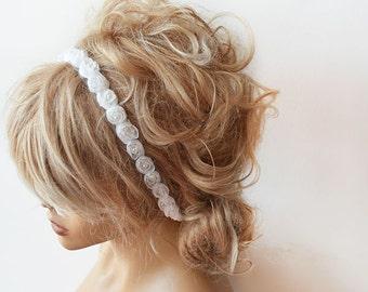 Off White Flowers Headband, Bridal Hair Accessories, Wedding Hair Accessories,  Flowers and Pearl Headband
