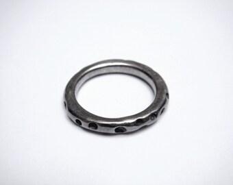 Modernist Sterling Silver Ring, pockmarked asteroid-like design