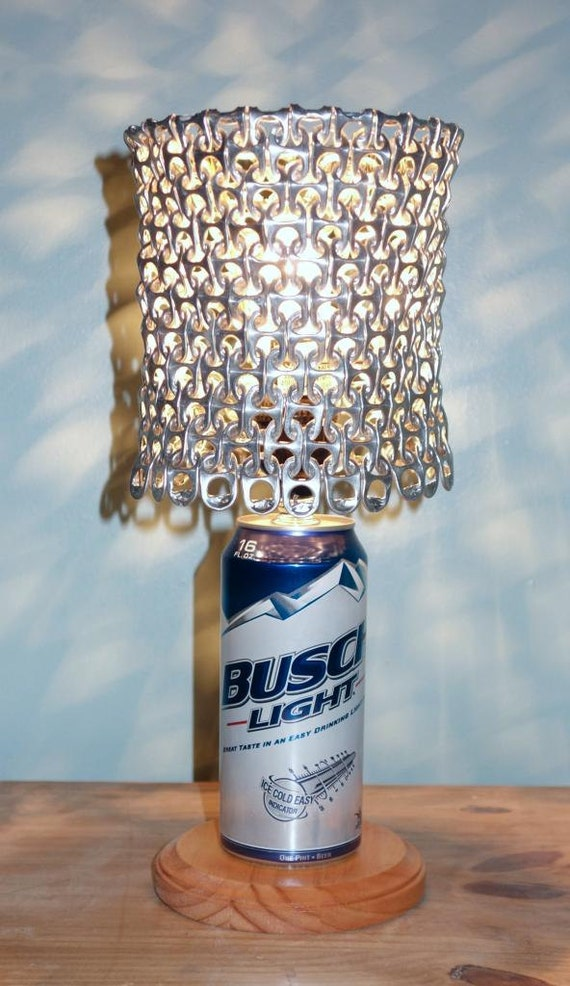 Busch Light Beer Can Lamp With Pull Tab Lampshade The