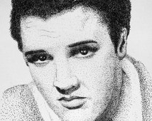 Instant Download of  Elvis Presley Pointillism Drawing for Personal Use or Scroll Saw Pattern