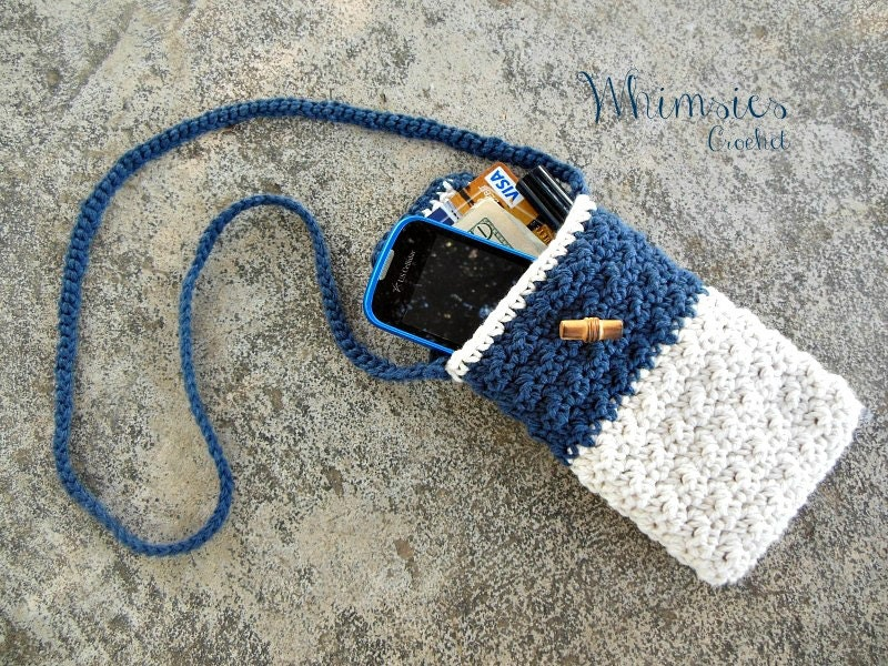 Crochet purse cross body bag cell phone purse by WhimsiesCrochet