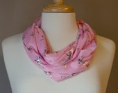 pink infinity scarf with sparkly silver dragonflies.  light weight, silky accessory. girly neck bling.