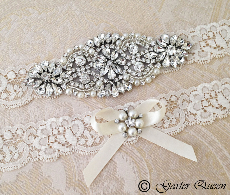 Vintage Lace Wedding Garter Set: Wedding Garter Set Bridal Garter Set Ivory Lace Garter Set
