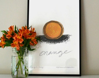 ART SKETCH of Orange on White Background