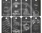 DIY  Printable  Christmas Religious Gift Tags. Chalkboard Christmas Gift Tags- INSTANT DOWNLOAD Original Printable Nativity Collage