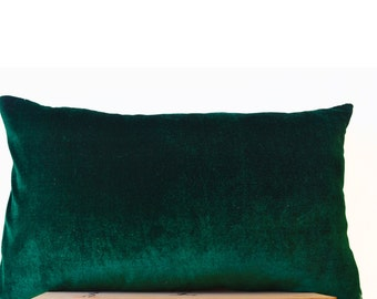 Emerald Green Lush Velvet And Oatmeal Linen Pillow Cover, Decorative Couch  Pillow, Gift,