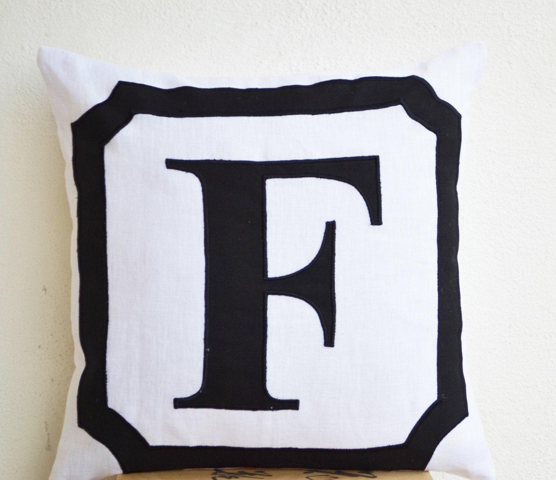 Linen Monogram Throw Pillow: Monogram Pillow Personalized Letter Linen Pillow Cover
