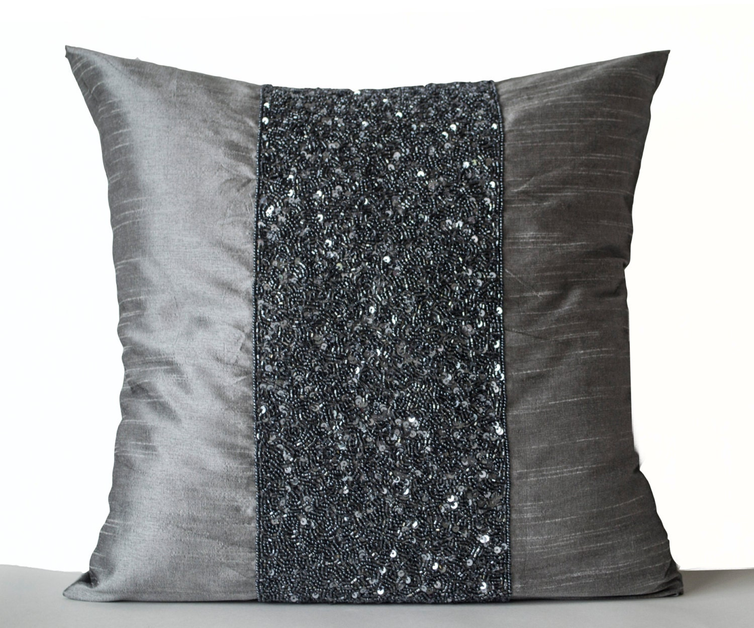 Beaded Pillows Beaded Pillow Cover Metallic Cushion Grey