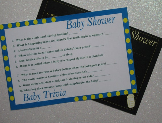 Items similar to Baby Shower Baby Trivia Game - PRINTABLE ...