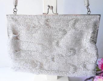 Silver Evening Bag, Vintage Silver Bag, Beaded Handbag, Hollywood Glamour, Sparkly Silver Bag, Silver Beading  EB-0157