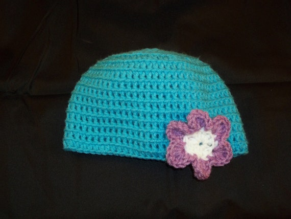 6 to 9 Months Sized Crochet Turquoise Hat with Purple and White Flower - Crochet Blue Hat Purple Flower