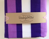 1960s Striped Flat Twin Sheet in Purples no iron Muslin