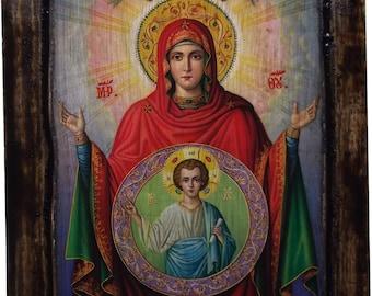 Virgin Mary - Orthodox icon on wood handmade - (22.5cm x 17cm)